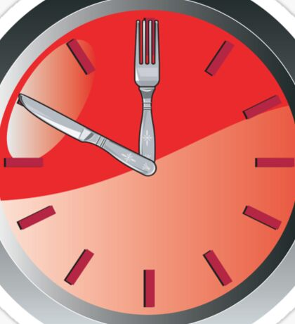 wall clock spoon and fork eating time  Sticker