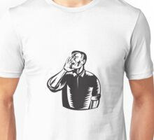 Male Worker Shouting Woodcut  Unisex T-Shirt