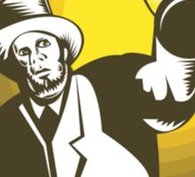 Man Wearing Top hat And Holding Lantern  Sticker