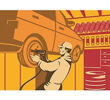 Mechanic Automotive Repairman Retro  by patrimonio