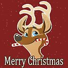 Cute Reindeer with Candy Cane by DeetsArt