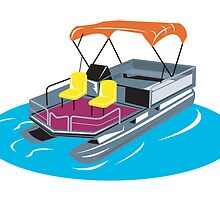 Pontoon Boat Retro  by patrimonio