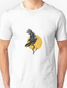 Raven Perching on Branch Retro  T-Shirt