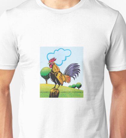 Rooster Cockerel Cock Crowing Retro  Unisex T-Shirt