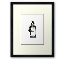 Grim Reaper Paper Pointing Woodcut  Framed Print