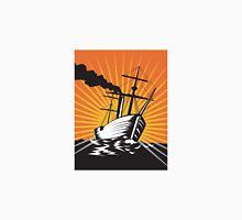Sailing Ship Retro Woodcut  Unisex T-Shirt