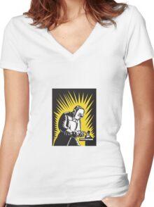 Welder Metal Worker Welding Retro   Women's Fitted V-Neck T-Shirt