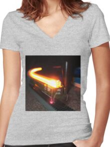 Time Lapse Model Train (Light Colored Shirt) Women's Fitted V-Neck T-Shirt