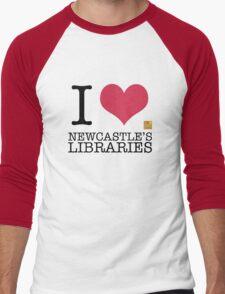 I Love Newcastle Libraries Men's Baseball ¾ T-Shirt