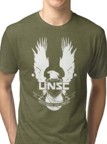 UNSC LOGO HALO 4 - CLEAN LOGO IN WHITE Tri-blend T-Shirt
