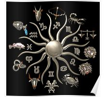 Zodiac astrology wheel of life from Valxart.com Poster