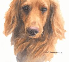 Dachshund watercolor by Mike Theuer