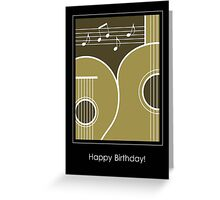Graphic Guitar and Music Notes Birthday Card  Greeting Card