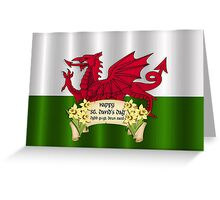 St. David's Day Greeting Card Welsh With Flag Greeting Card