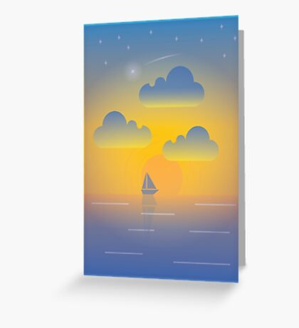 Evening Boat Trip Greeting Card