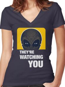 THEY'RE WATCHING YOU Women's Fitted V-Neck T-Shirt