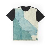 California Map Blue Vintage Graphic T-Shirt