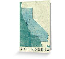California Map Blue Vintage Greeting Card
