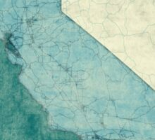 California Map Blue Vintage Sticker