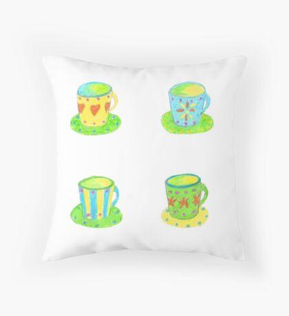Tea Cups  Throw Pillow