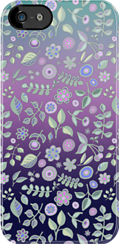 Ombre Nature Doodle Pattern in Navy &amp; Purple by micklyn