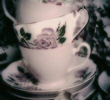 Pink Tea Cups  by Karen Lewis