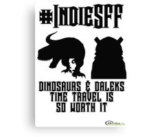 IndieSFF Dinosaurs and Daleks Canvas Print