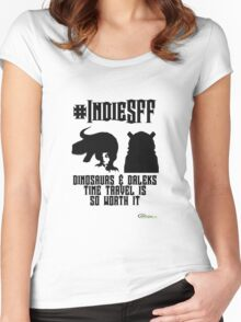 IndieSFF Dinosaurs and Daleks Women's Fitted Scoop T-Shirt