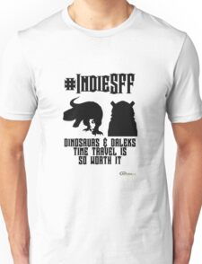 IndieSFF Dinosaurs and Daleks Unisex T-Shirt