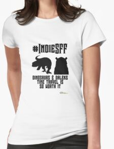 IndieSFF Dinosaurs and Daleks Womens Fitted T-Shirt