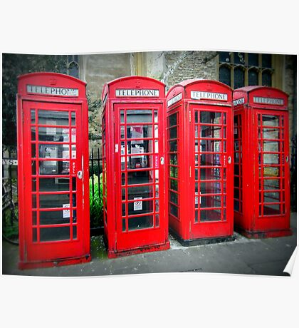 Iconic red telephone boxes Poster