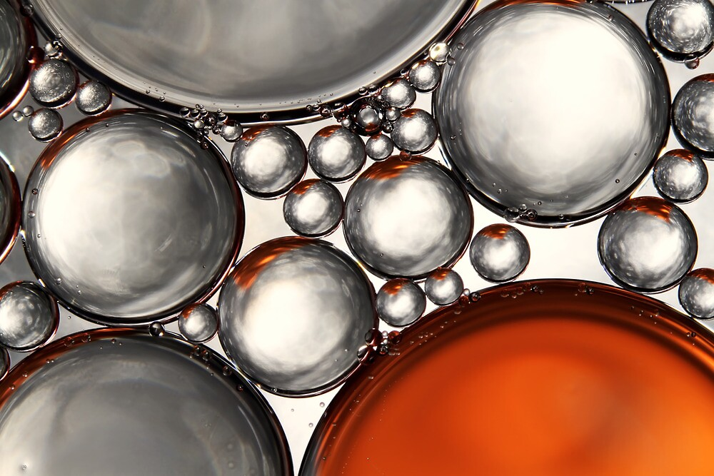 Mercury & Bronze Bubble Abstract by Sharon Johnstone