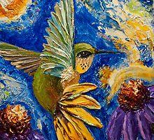 Hummingbird & Purple Cone Flowers by OriginalbyParis