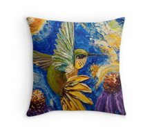 Hummingbird & Purple Cone Flowers Throw Pillow