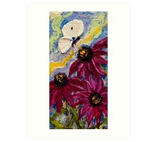 White Butterfly & Purple Cone Flowers Art Print