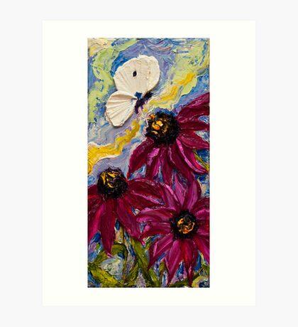 White Butterfly & Purple Cone Flowers Art Print