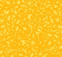 Creepy Crawly Pattern - Yellow by chayground