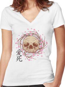 CHERRY BLOSSOM SKULL Women's Fitted V-Neck T-Shirt