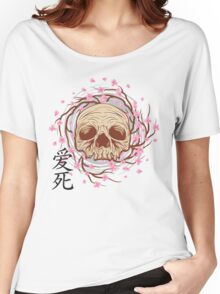 CHERRY BLOSSOM SKULL Women's Relaxed Fit T-Shirt