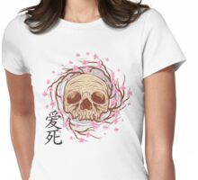 CHERRY BLOSSOM SKULL Womens Fitted T-Shirt