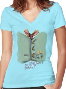 Pocket 02 Women's Fitted V-Neck T-Shirt