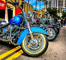 Line of Vintage Harley Hogs by Chris L Smith