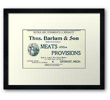 Barlum & Son Provisions Supplier Ad 1880 Detroit Framed Print