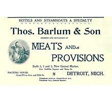 Barlum & Son Provisions Supplier Ad 1880 Detroit Photographic Print