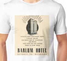 Barlum Hotel in Detroit Vintage Ad Unisex T-Shirt