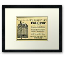 Vintage Detroit Ad for the Book Cadillac Hotel in 1926 Framed Print