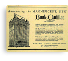 Vintage Detroit Ad for the Book Cadillac Hotel in 1926 Canvas Print