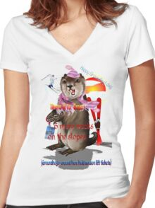 Groundhog Day-6 more weeks Women's Fitted V-Neck T-Shirt