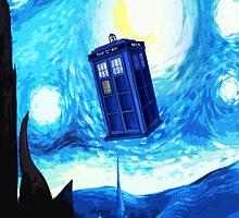 Starry Night Blue Phone Box by albertjunior
