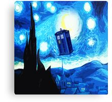Starry Night Blue Phone Box Canvas Print